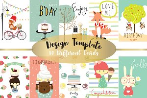 10 cute lovely design animal cards2#