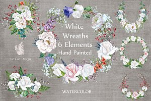Watercolor roses wreaths clipart