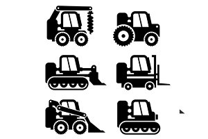 Bobcat Machine Icons Set