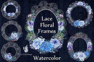 White lace floral frames clipart
