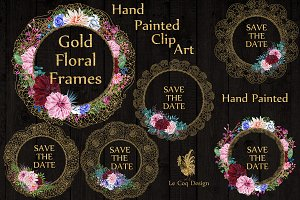 Gold Lace frames clipart