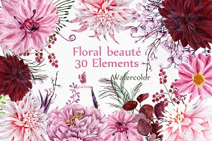 Watercolor flowers clipart