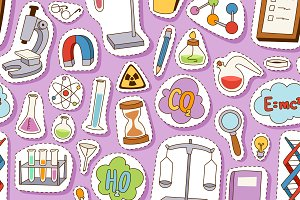 Laboratory icons seamless pattern