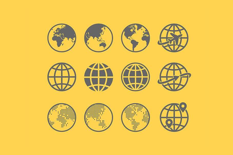 Earth Vector globe Icon set