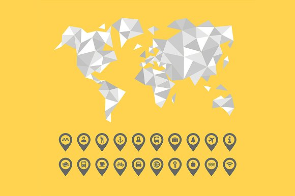 World map and location icon set