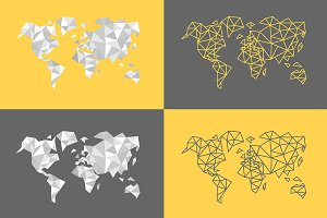 Polygonal triangle world maps