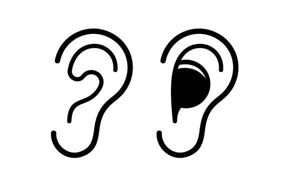 Ear and Earplug Icons Set