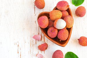 Fresh lychees in a bowl