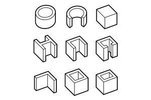 Metal Profiles  Icons Set