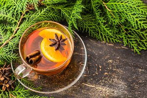 Tea with spices and lemon