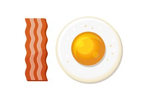 Fried Egg and Slices of Bacon