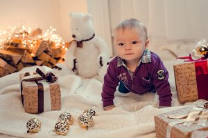 Baby in Christmas time