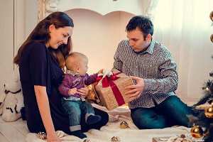 Happy family in Christmas time