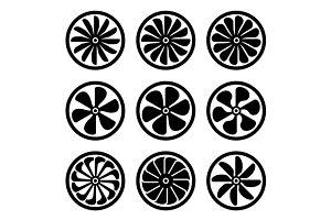 Turbines Icons Set