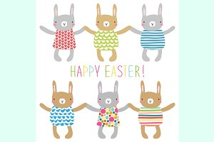 Cute childish Easter greeting card