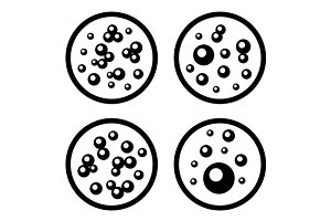Petri Dishes with Bacteria Icons
