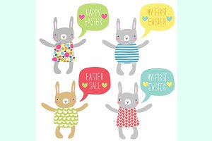 Cute Easter Bunny characters