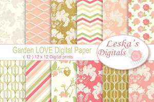 Gold Floral Digital Paper