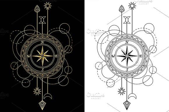 Compass Tattoo Seamless Patterns