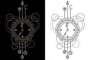 Clock Tattoo+Seamless Patterns