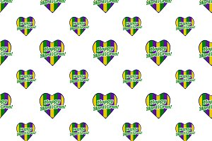 Happy Mardi Gras Logo Pattern