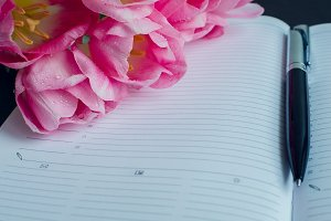 Beautiful pink tulips with a notebook