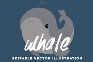 Hand-Drawn Whale Vector Cartoon