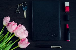 Woman's pink and black accessories