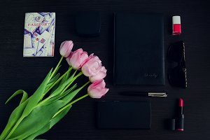 Women's pink and black accessories