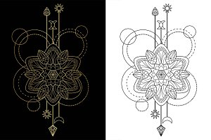 Mandala Tattoo+Seamless Patterns