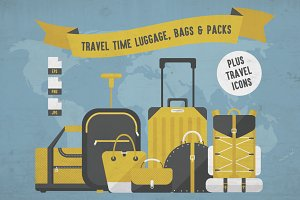 Travel Time Luggage Plus Icons