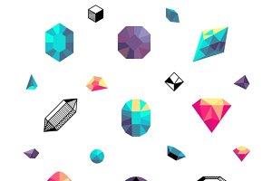 Color crystals, stones set