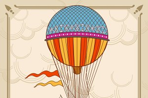 Air hot balloons in sky background
