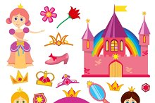 Cute fairytale princess icons set