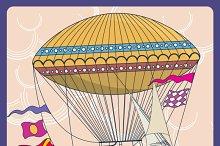 Hot air balloon cartoon illustration