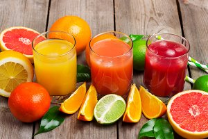 Assortment of fresh juices