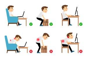 Correct, incorrect postures