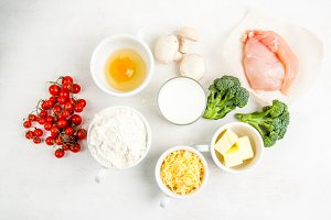 Ingredients for quiche lorraine