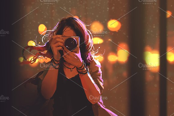 painting of woman with camera