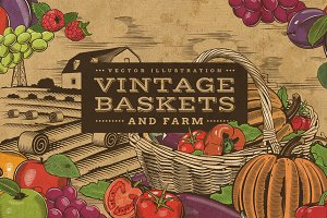 Vintage Fruits & Vegetables Baskets