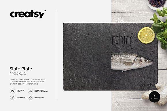 Slate Plate Mockup-Graphicriver中文最全的素材分享平台