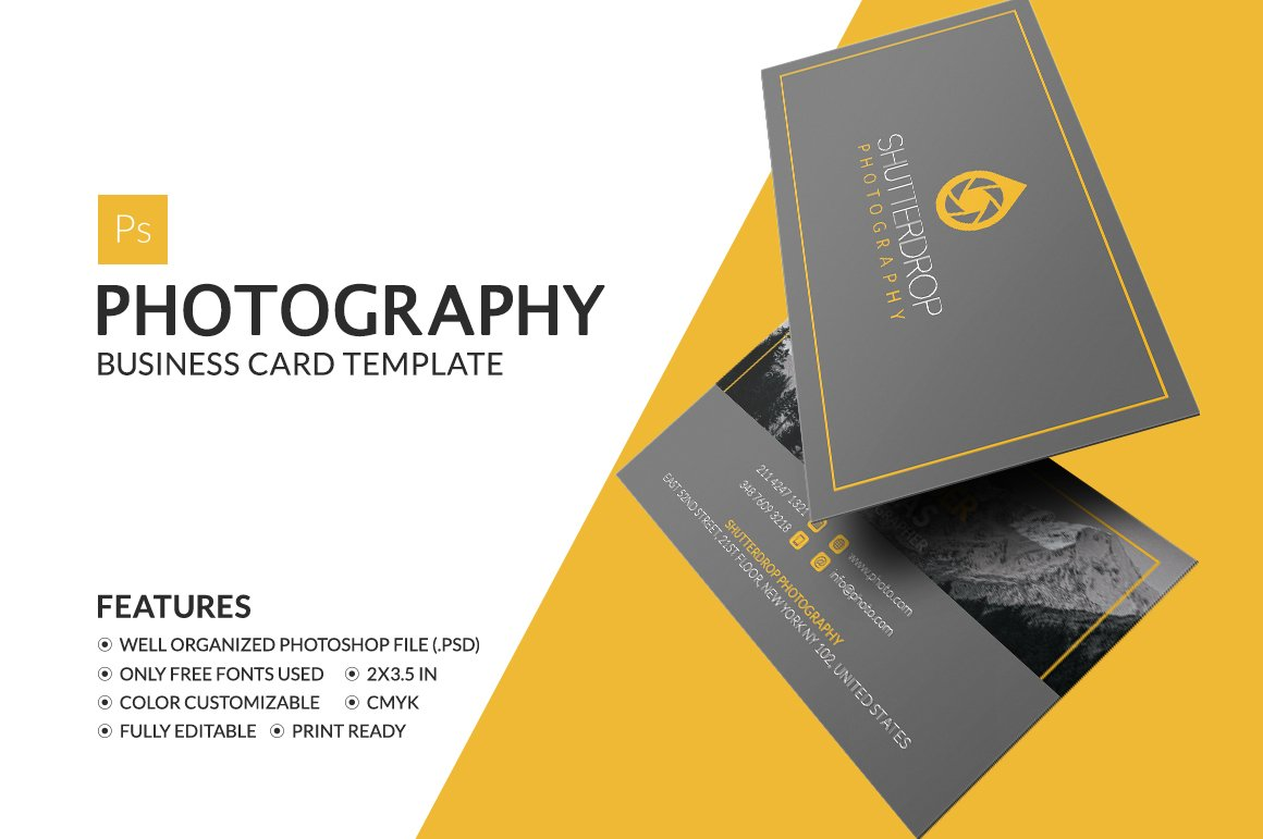 Photography business card business card templates creative market fbccfo Images