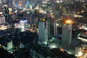 Night a big modern city