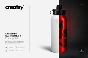 Aluminium Water Bottle 2 Mockup Set