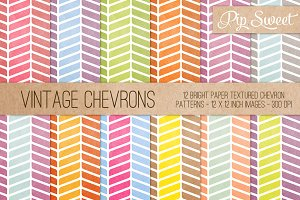 Vintage Chevrons 12 Pattern Set