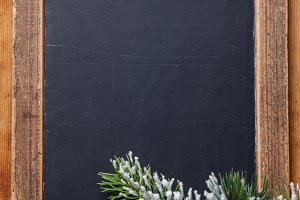Chalk board with Fir branch