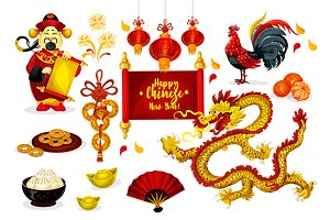 Chinese New Year characters, icons