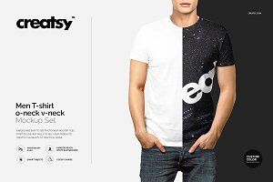 Men T-shirt V-neck O-neck Mockup Set