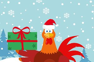 Red Rooster Bird With Santa Hat