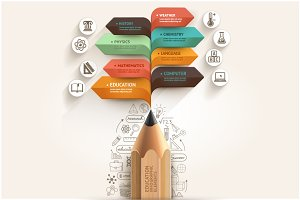 Education Pencil Arrow Infographics